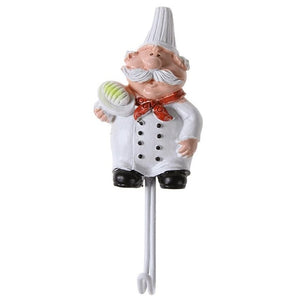 Cartoon Chef Shaped Hook Powerful Adhesive Wall Key Holder Kitchen Bathroom Storage Door Clothes Coat Hat Hanger Towel Hooks