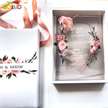 Load image into Gallery viewer, Free shipping 10pcs luxury high class romantic acrylic wedding invitation card hot sell,flower wedding cards with box