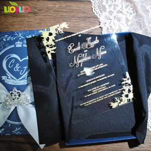 Free shipping 10pcs luxury high class romantic acrylic wedding invitation card hot sell,flower wedding cards with box