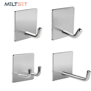 Stainless Steel Door Wall Hook Kitchen Towel Hooks  Adhesive Wall Hanger Key Holder Bathroom Rack Organizer Clothes Coat Hanger
