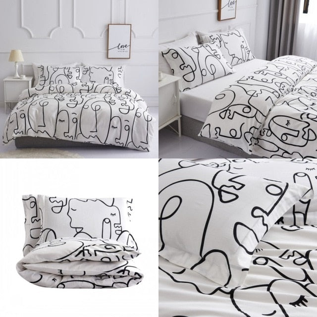 230TC cotton abstract Duvet Cover Set ,INS Bedding Set Quilt Cover Bed Sheet 220x240cm King Size Single Double Queen Bed Linens