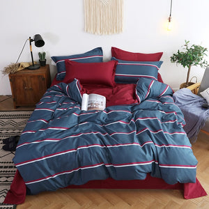 Nordic Duvet Cover Set Leaf Striped Star Bedding Set Single Double Queen King Size 240x220 Aloe Cotton Quilt Cover Bed Sheet