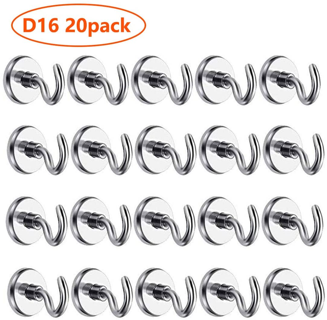 No D16 Heavy Duty Neodymium Rare Earth Magnet Hook (20 Pack), 12LB Pulling Force Hanging Mighty Magnetic Hooks Great for Fridge