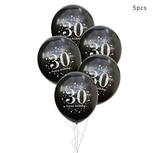 30 40 50 60 Anniversary Balloons Happy Birthday Party Decor Adult Black Gold Balloon 30th 40th 50th Years Party Photobooth Props