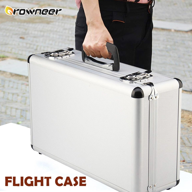Lightweight Flight Case Silver Aluminium Foam Protection Box Hard Lockable Carry Storage Box D Clips Sealed Instrument Tool