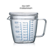 Load image into Gallery viewer, 250/500ml Glass Measuring Cup Milk Jug Heat Resistant Glass Cup Measure Jug Creamer Scale Cup Tea Coffee Pitcher Microwave Safe