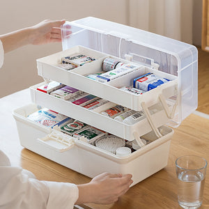 Plastic Household Storage Medical Box with Handle Household Emergency Box Health Box Cosmetic Makeup Box Three Layer