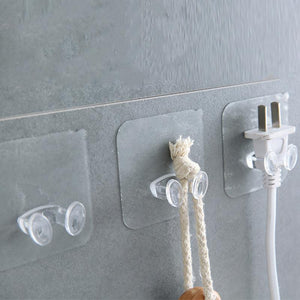 Transparent Strong Self Adhesive Door Wall Hangers Towel Handbag Hooks Plug hook For Kitchen Strong sucker Bathroom Accessories