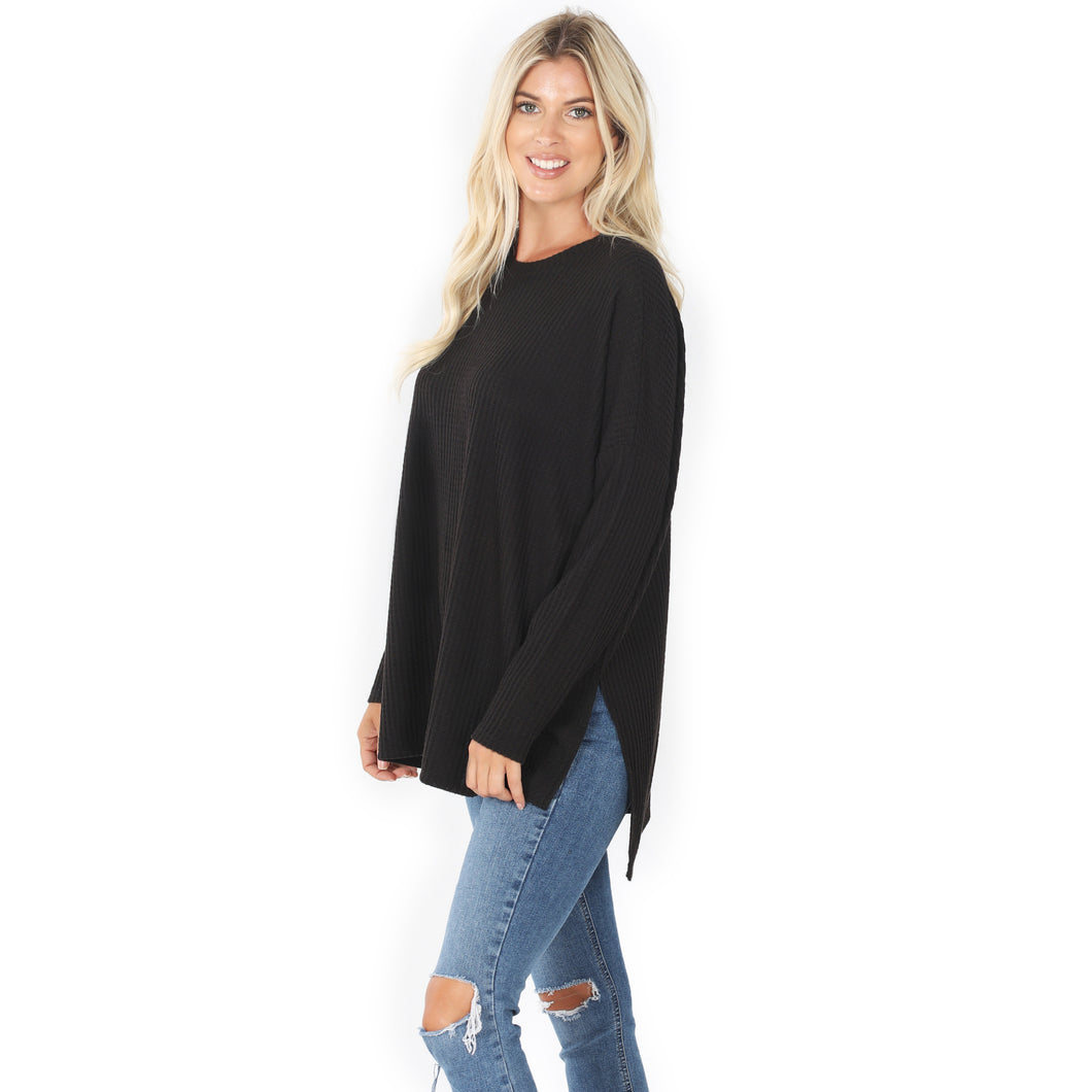 THERMAL WAFFLE HI-LOW HEM TOP