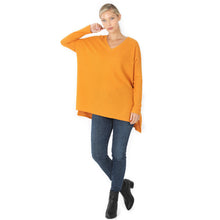 Load image into Gallery viewer, THERMAL WAFFLE V-NECK HI-LOW HEM TOP