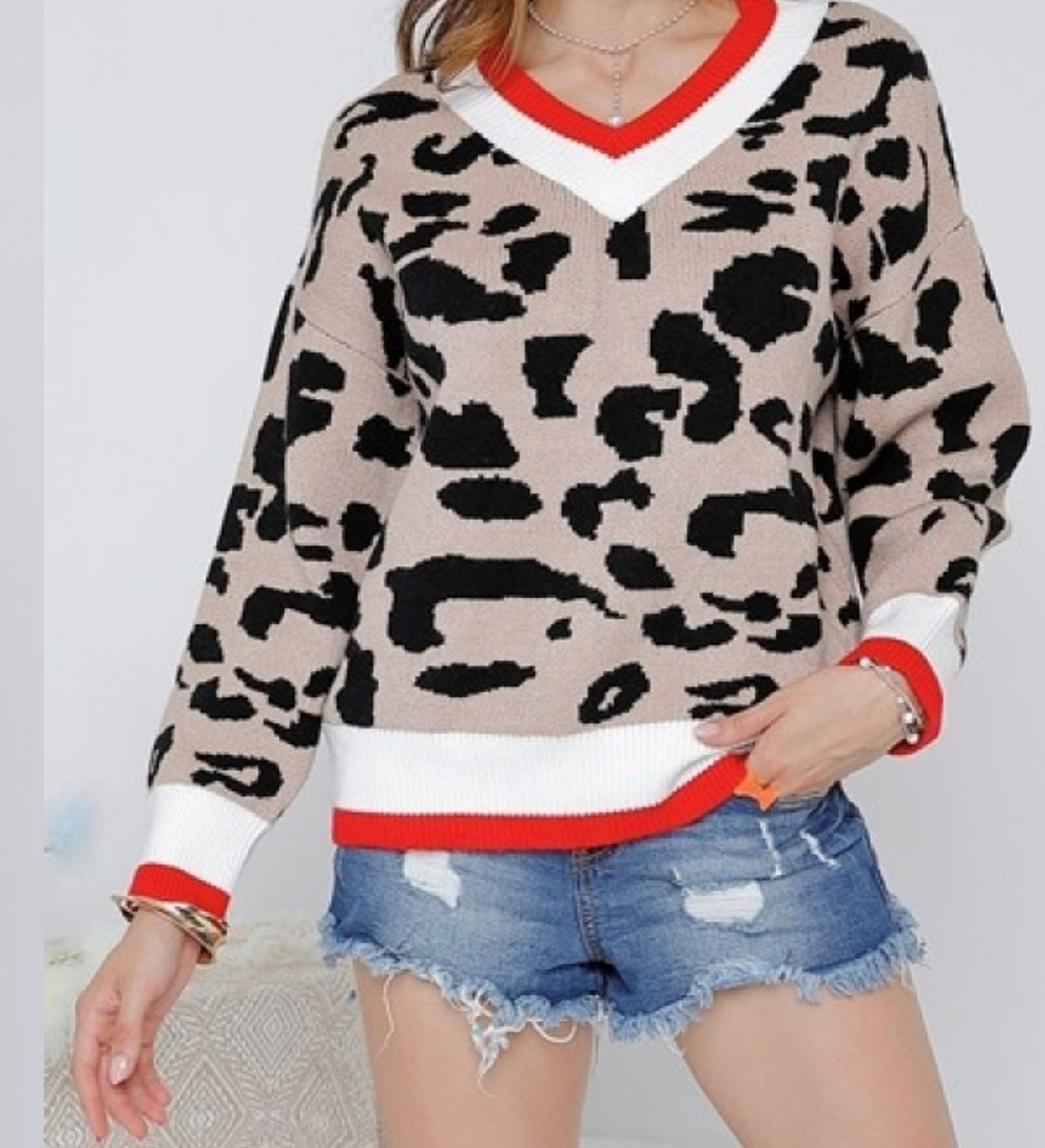 LEOPARD PRINT V NECK KNIT BLOCK SWEATER