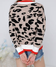 Load image into Gallery viewer, LEOPARD PRINT V NECK KNIT BLOCK SWEATER