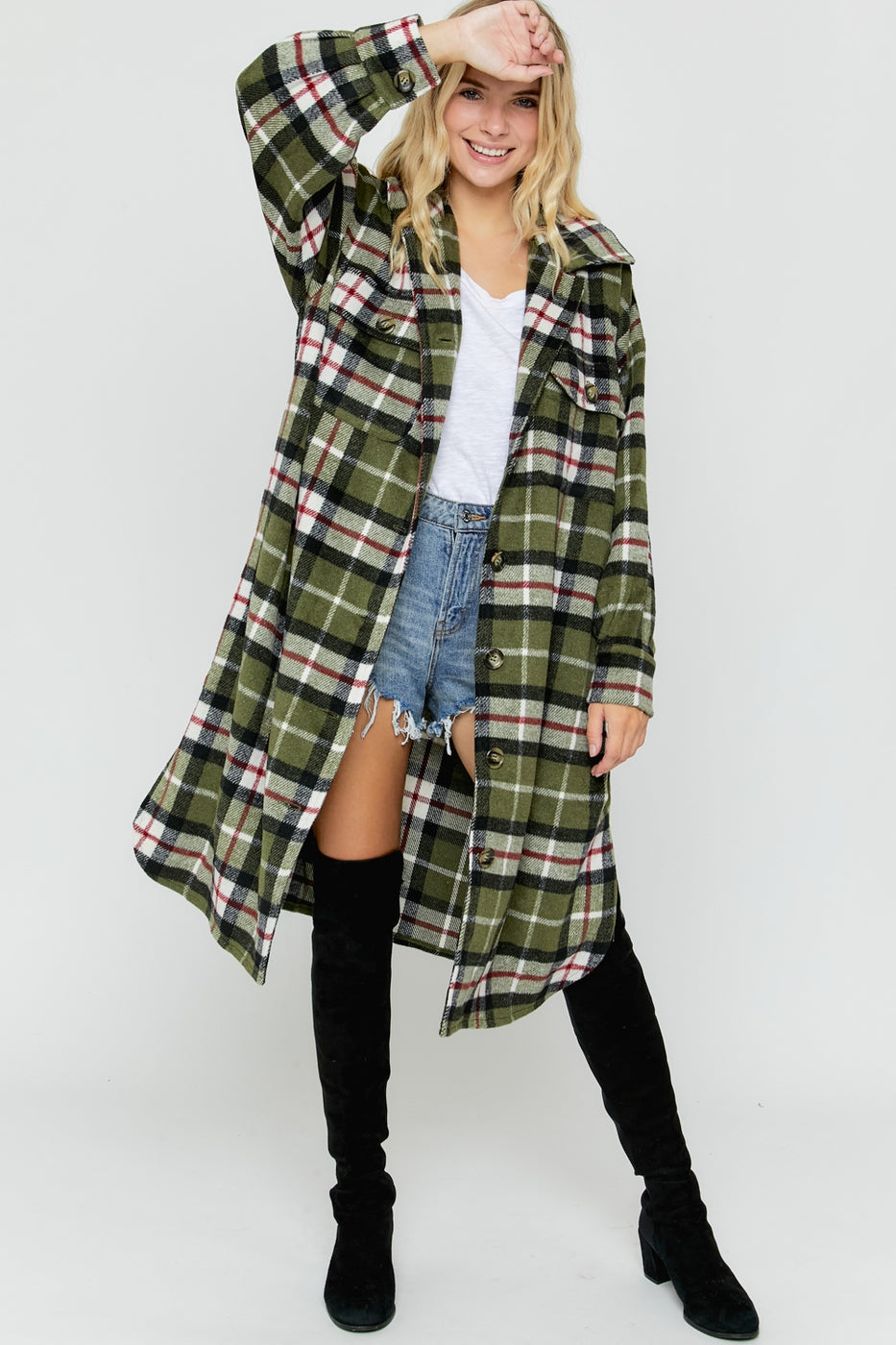 OLIVE COMBO PLAID BUTTON DOWN COAT