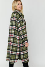Load image into Gallery viewer, OLIVE COMBO PLAID BUTTON DOWN COAT