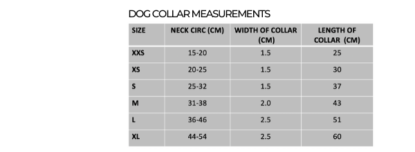 Dog Collar measurements