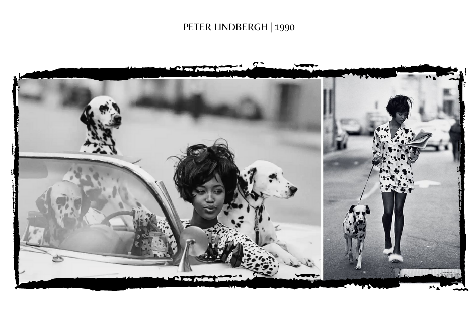 Naomi Campbell with Dalmation Dogs