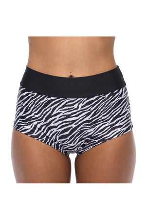 Duchess High Waisted Zebra Bikini Short
