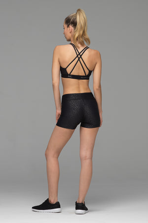 Derriere Sports Short in subtle black animal print (rear view)