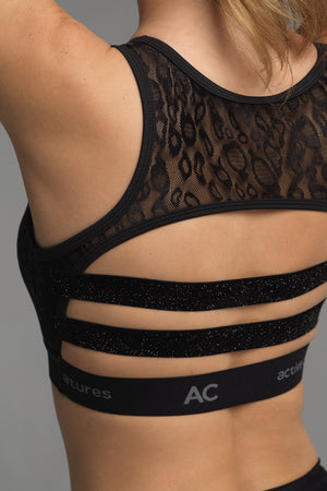 Treasure Chest sports bra in black animal print lace (rear view)