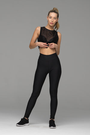 Billion Dollar Baby full length legging in solid black (front view)