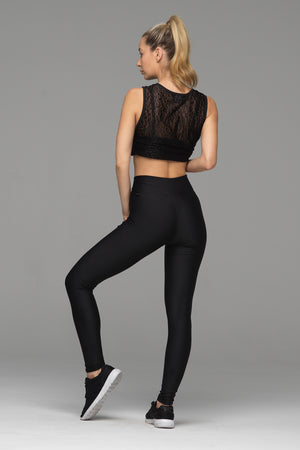 Billion Dollar Baby full length legging in solid black (rear view)