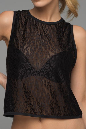 Peeping Tom sports tank in black animal print lace (front view)