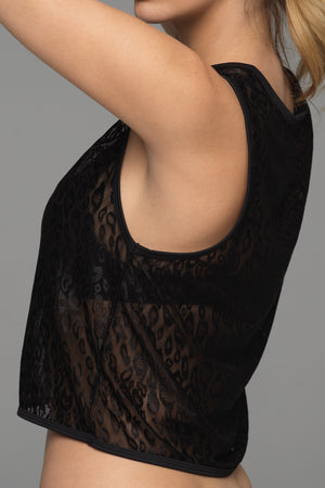 Peeping Tom sports tank in black animal print lace (side view)