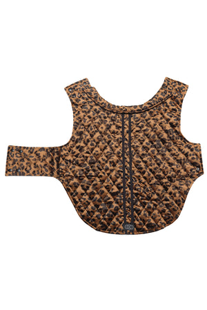 Furbaby Dog Coat in Bronzed Baby laid flat to show the exterior of the coat when opened up.