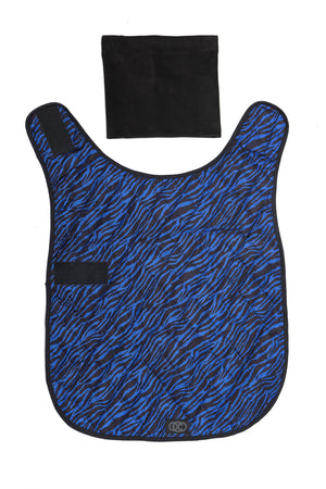 Liberbarkce Dog Coat in Blue Zebra laid open to show exterior shape of jacket, with snood scarf.