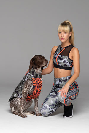 Mum & Me! Our human and dog models both in matching camo outfits. What a pair!