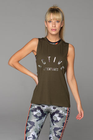 The Balboa Muscle Tank in Army Green is made from silky soft modal fabric and sits loosely against the body.