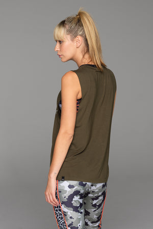 Back of the Balboa Muscle Tank in Army Green.