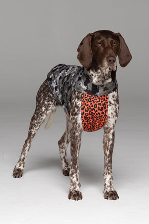 Foxtrot Dog Jacket in Camo Print, with vibrant orange animal print bodice.