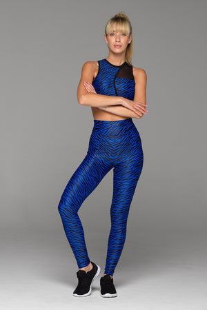 Billion Dollar Baby Legging in Blue Zebra. High waisted, with no uncomfortable (and unflattering) elastic waistband.
