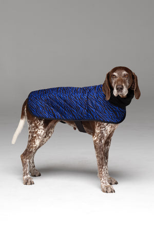 Liberbarkce Dog Coat in Blue Zebra side profile showing snood scarf and strap underneath chest.