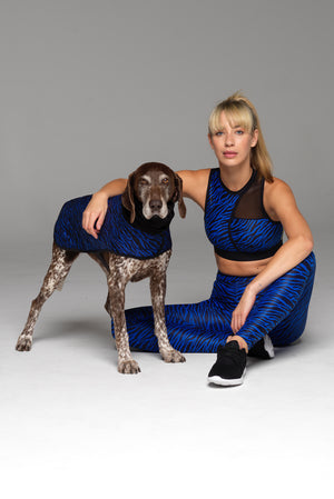 Fancy a bit of matchy-matchy? Model & Dog shown in matching Blue Zebra print outfits.