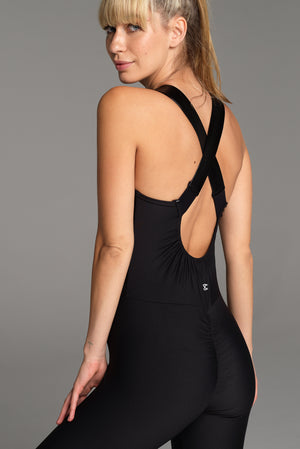 Back view of the Nightcall Catsuit, with rouching across the bum and shaping through the back of the waist.
