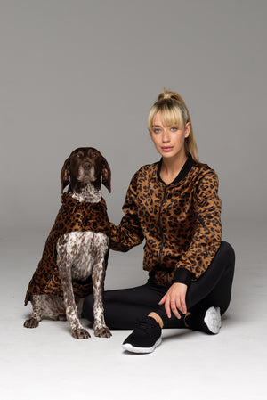 Awww. Matching mum and furbaby. Dog model in Furbaby Dog Coat and Model Mum in matching bomber jacket.