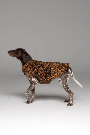 Side profile shot of the Furbaby Dog Coat in Bronzed Baby showing neck collar detail.