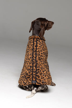 Furbaby Dog Coat in Bronzed Baby showing the 2-stripe sporty design across the dog's back.