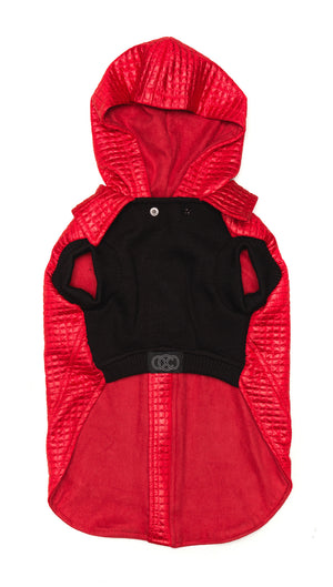 Red Dog Jacket | Lil Rocknhood Dog Coat | Zip Through