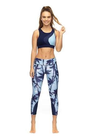 Barbarella Crop Top in blue women's active wear - front