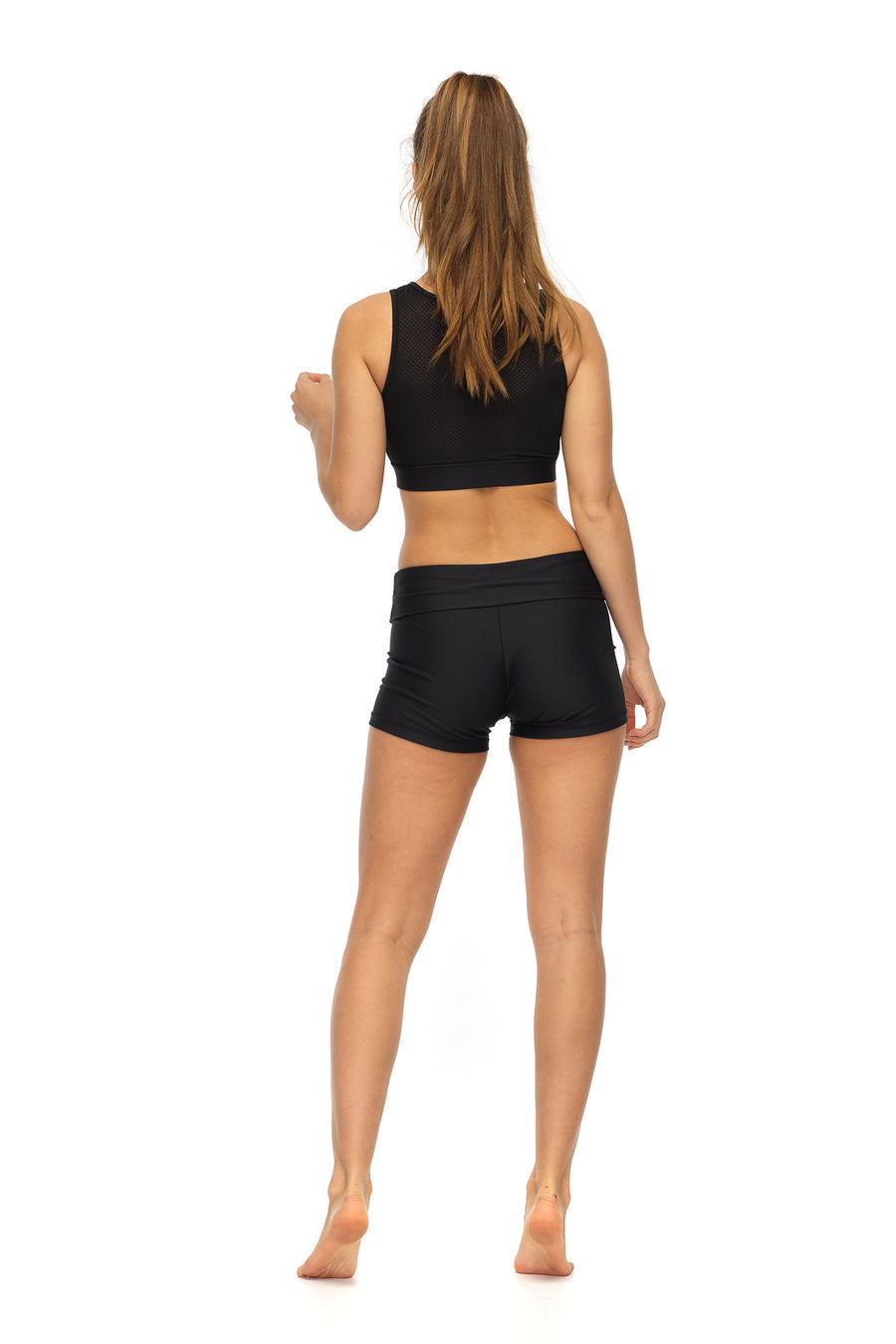 Black Derriere Shorts | Side Profile | Folded Waistband