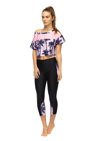 Bemused Crop Top in pink women's active wear - front