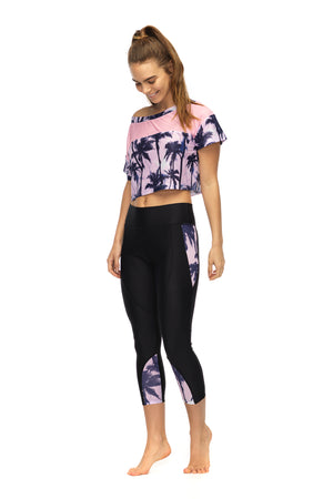 Bemused Crop Top in pink women's active wear - front 3/4