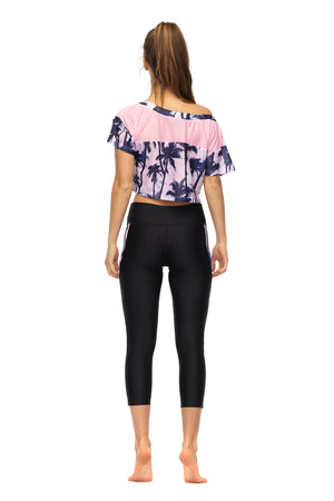 Bemused Crop Top in pink women's active wear - back
