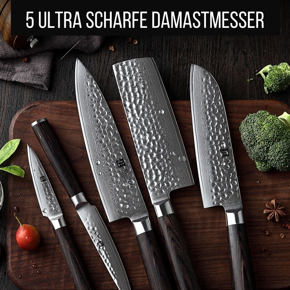 Premium Messerblock - Damastmesser-Set (50% Rabatt)