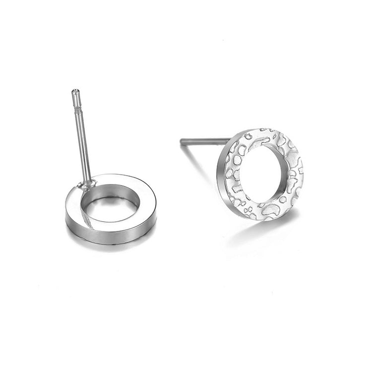 Simple Stainless Steel Round Earrings