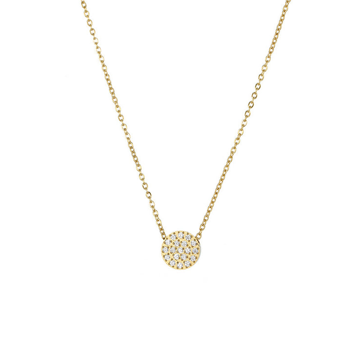 Necklaces Zircon Gold Plated Round Necklace