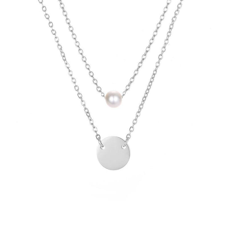 Stainless Steel Round Pendant Women Double Layer Pearl Necklace(2 in 1)